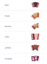 Screenshot showing different versions of the Accordion Emoji on Apple, Google, Amsung, Twitter, etc. All red piano accordions with bellows splayed. From Emojipedia.org